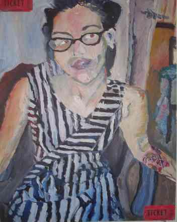 striped dress, oil, 2008