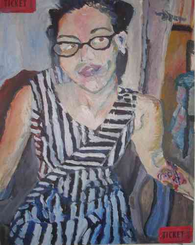 striped dress, oil, 2008