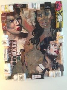 Three Ladies, oil, mixed media, 2014